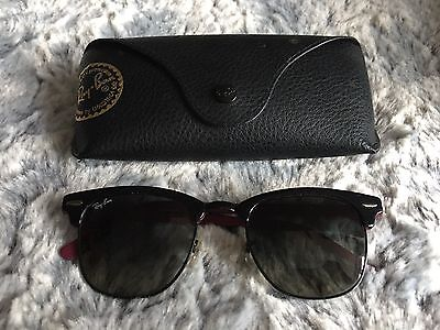 100% Genuine Rayban RB 3016 Clubmaster Black Sunglasses With Case
