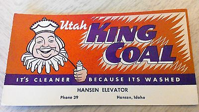 "Utah King Coal Vintage INK BLOTTER ""It's Cleaner Because It's Washed"" Hansen, ID"