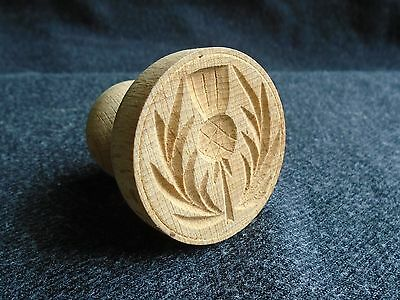 small wooden butter pat or biscuit press - Scottish thistle design
