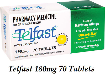 Telfast 180mg 70 Tablets Hayfever Allergy Itchy Skin Rash Hives 24 Hour relief