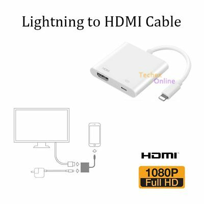 Lightning 8Pin To HDMI Cable Adapter TV AV For Apple iPad Air iPhone X 6 6s 7 8