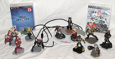 Disney Infinity 2.0 Lot 11 figures (Marvel Avengers Guardians) PS3 discs starter