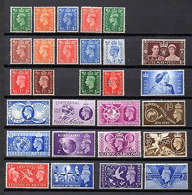 collection of 28 mint GVI GB stamps