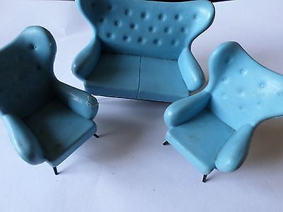 Vintage Triang blue sofa and 2 chairs