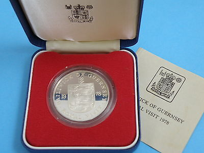 Guernsey - Cased 1978 Silver Proof Crown Coin - The Royal Visit