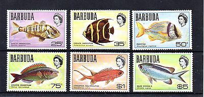 set of 6 mint QEII fish theamed stamps from barbuda, cat £11