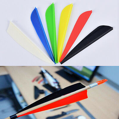 """100Pcs/lot 3"""" Shield Plastic Feathers Hunting Vanes Archery Arrow Accessories TO"""