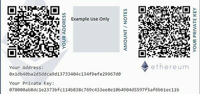 Ethereum Paper Wallet -Cold Storage - Plus 0.01 ETH Mining Contract - Auction
