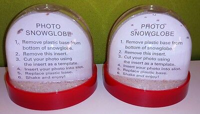 2 Blank Red Photo Snowglobe Glitter Domes - MAKE CHRISTMAS GIFTS Stocking Filler