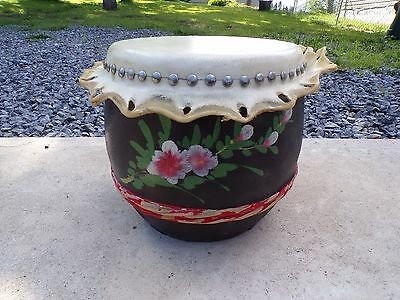 Vintage Rare Rawhide Wooden Barrel Hand Painted Floral Drum Lqqk