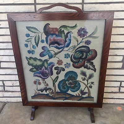 """22.5""""x 28.5"""" Antique English Wooden Floral Needlepoint Scenery Fireplace Screen"""