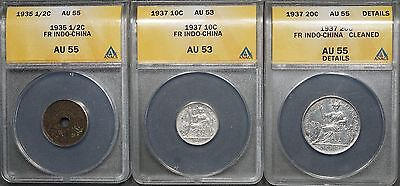 French Indo China 1935 1/2 Cent, 1937 Silver 10 Cent & 1937 Silver 20 Cent ANACS