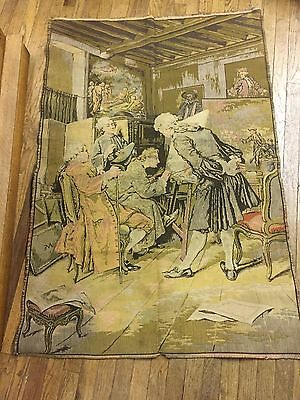 Large French Tapestry ~ Men Watching as Artist Paints. ~ Unusual Subject