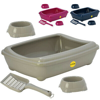Open Cat Litter Tray or Set with Bowls + Scoop Open Plastic Box Toilet Rim