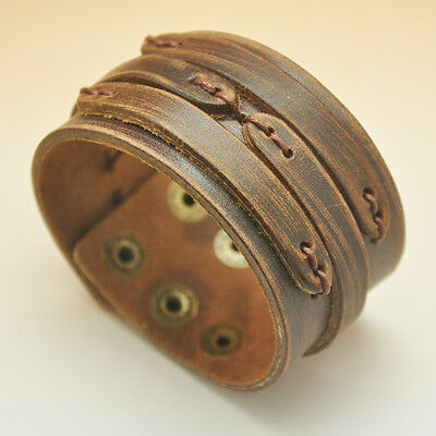 Men's Stylish Real Leather Wide Brown Bracelet Johnny Depp Punk Style Wrist Band