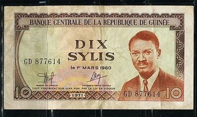 Paper Money Guinea 1971 10 sylis VF
