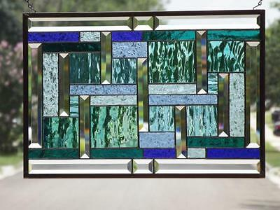 "•• Under the SEA ••Beveled Stained Glass Window Panel •22 ¾""-15 5/8"" (57-39 cm)"