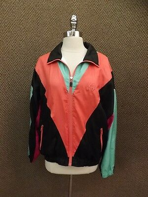 Vtg Sergio Tacchini Italy Designer Color Block Athletic Track Jacket Womens 10