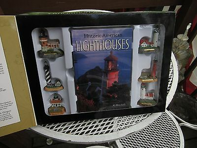 Historic American LIGHTHOUSES A Collector's Edition-6 figures and book-NRHisto