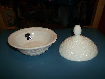 Imperial Milk Glass Bowl With Lid.  Bowl 5 1/4 Inches Diameter And 6 Inches High