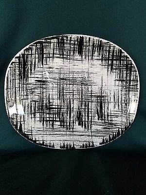Vintage 1954 Knowles EBONETTE Serving Platter Plate Black & White Mid Century