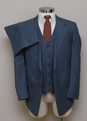 NOS Vintage Mens 42S Custom 3 Piece Grey with Brown and White Stripes Wool Suit