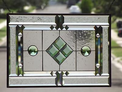 "• Traditional • Beveled Stained Glass Window Panel • 21 ¾""x14 ¾"" (54x38cm)"