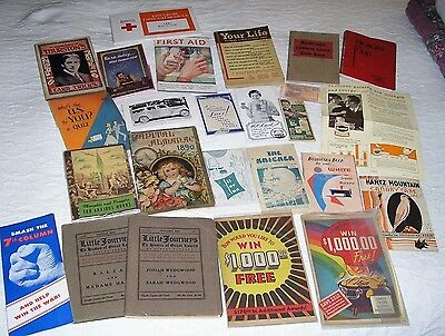 Antique Vintage Mixed Lot 25 Booklets Books Pamphlets Advertising Almanac & More