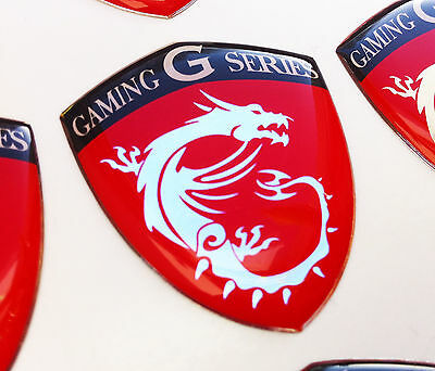 MSI Gaming G Series Dragon Shield RED 3D domed sticker badge 40x33mm