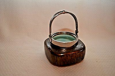 1930's Art Deco Iridescent Pottery Handled Mini Jar with Chrome Plated Mounting
