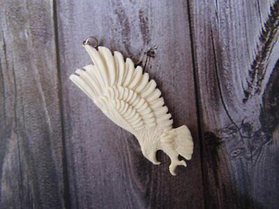 Pendant Necklace Flying Eagle from Buffalo Bone Carved with Silver Bail 925_x311