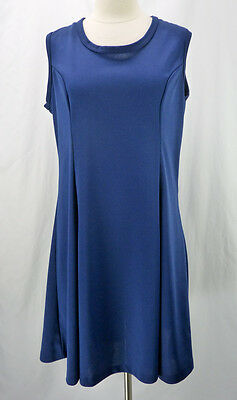 Vintage 70s Simple Navy Blue Structured Sleeveless Shift Layering Mini Dress XL