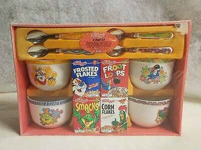 Kellogg 2002 Cereal Bowl Set Spoons Tony the Tiger Frosted Corn Flakes Smacks