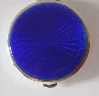 English Art Deco 1927 Solid Silver & Guilloche Enamel Powder Box