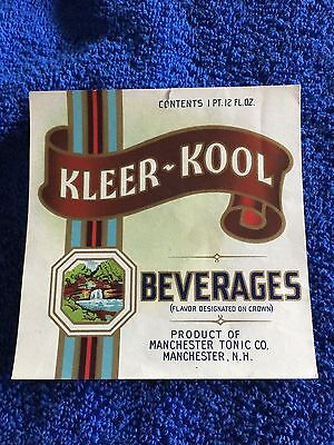2 Kleer Kool Soda Labels- Manchester, New Hampshire !!