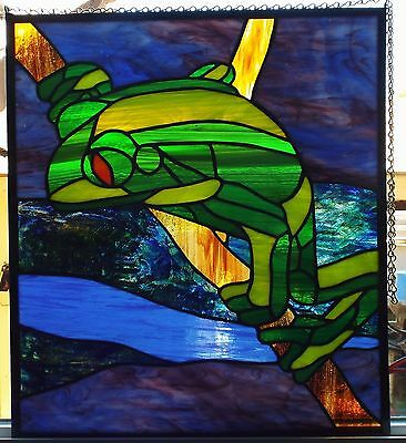 Handmade Stained Glass Frog Panel