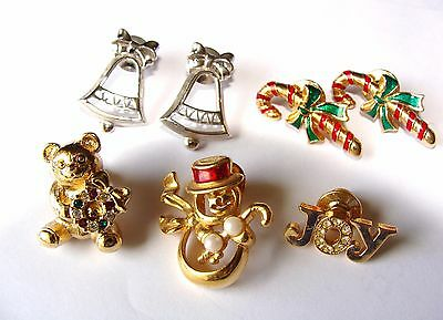 Lot of 7 AVON Christmas Lapel Pins Snowman ~ Silver Bells ~ Candy Canes ~ JOY