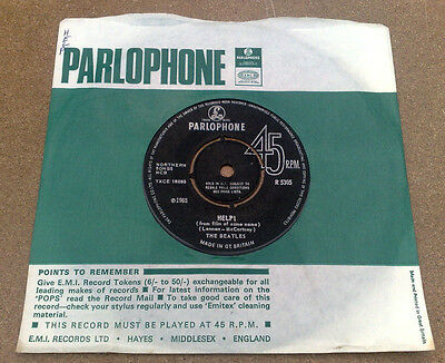 "Beatles  ""  Help ! ""superb Top Orig Uk 7"" Rarer Font & Fabulous Company Sleeve"