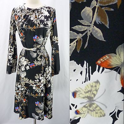 Vintage 70s Butterfly Garden Floral Silhouette Print Belted Jersey Shift Dress L