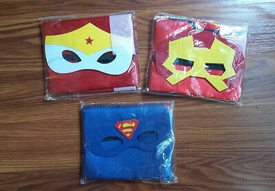 New Kids Superhero 3 Cape & Mask Costume Set For Birthday and Party Favors