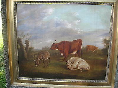 ANTIQUE EARLY 19th CENTURY OIL PAINTING CATTLE & A DONKEY IN A LANDSCAPE /3923