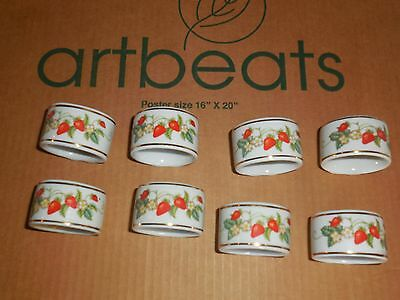 8 Strawberry Gold Trimmed Porcelain Napkin Rings Avon Vintage Collect Use