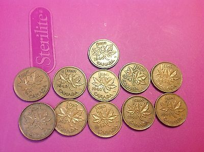 1940-49 Canada CENTS, Canadian Pennies ( 11 Different ), With 47 Maple Leaf