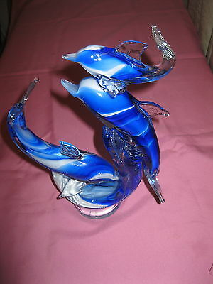 Blue Art Glass DOLPHIN SCULPTURE collectable fish marine
