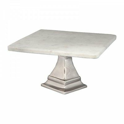 Square Marble Silver Cake Stand