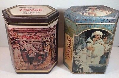 2 Vintage Coca-Cola  Six-Sided 1989 & 1991 Collector Tins Made in England