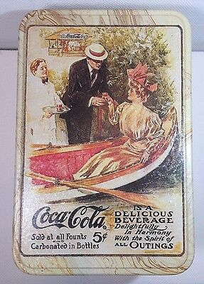 Vintage 1906  Coca Cola Woman in Canoe Tin  Gets a Coke Henry Hutt 5cent Repro