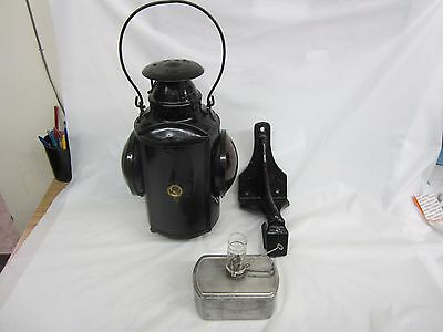 Rare Marked Canadian National Railway  Order Board Lantern and Mount Piper