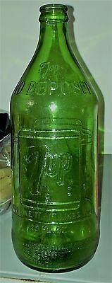 "Rare** Vintage ""no Deposit No Return"" Green Embossed 7Up Bottle - 28 Oz. Quart"