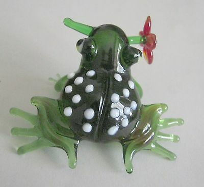 russian glass animal frog with flower murano figurine art hand blown